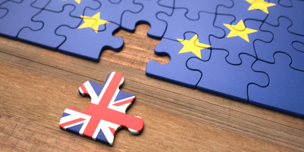 Jigsaw Where Union Jack Is Separated From The EU Flag